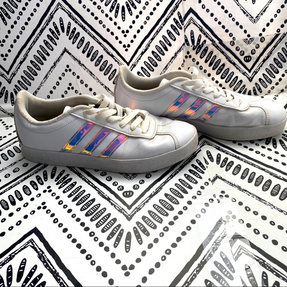 adidas Shoes   Adidas Vl Court 2 White Holographic Sneakers   Poshmark